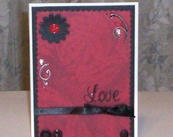 Love on Red Roses Blank Greeting Card - Black, White, Romantic, Romance, Anniversary, Valentines Day, All Occasion