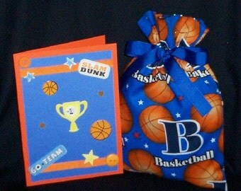 B is for Basketball Small Fabric Gift Bag - Sports, March Madness, Team, Athlete, Ball, Blue, Orange, White, Red, Black