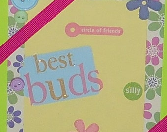Best Friends Forever Lime Green Blank Greeting Card - BFF, Friend, Girlfriends, Flowers, Glitter, Pink, Blue, Purple, Yellow, Beige