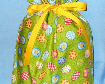 Easter Eggs on Lime Medium Fabric Gift Bag - Decorated Eggs, Dots, Stripes, Flowers, Baby Chicks, Yellow, Blue, Pink, Green, White