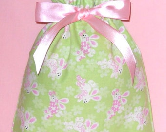Hopping Bunnies Small Fabric Gift Bag - Easter, Bunny, Rabbit, Rabbits, Flowers, Pink, Green, White, Black