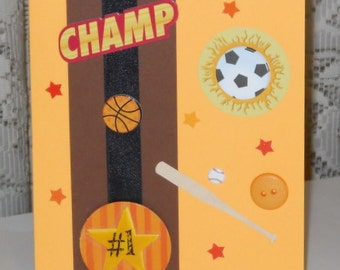 SALE - Sports Champ Blank Greeting Card - Football, Basketball, Soccer, Baseball and Bat, Orange, Yellow, Red, Black, Brown, White