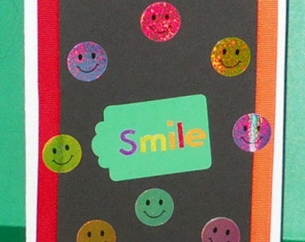 SALE - Smiley Faces Blank Greeting Card - Smile, Face, Red, Blue, Yellow, Lime Green, Orange, Pink, Purple, Fun, All Occasion