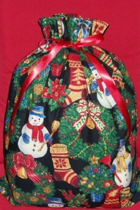 Christmas Decorations on Black Large Fabric Gift Bag - Holiday, Snowman, Stockings, Trees, Wreaths, Red, Green, Blue