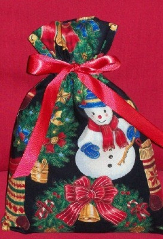 Christmas Decorations on Black Small Fabric Gift Bag - Holiday, Snowman, Stockings, Trees, Wreaths, Red, Green, Blue
