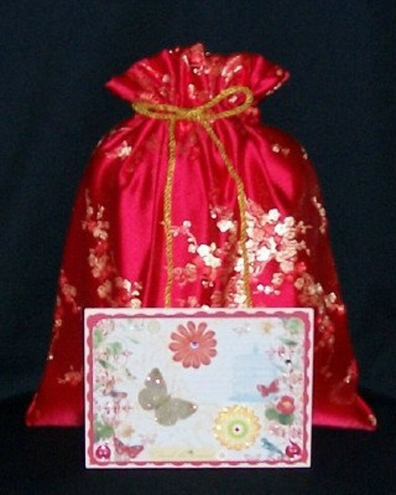 Cherry Blossom Lined Brocade Medium Fabric Gift Bag - Sari, Floral, Flowers, Asian, Oriental, Luxurious, Red, Gold, Valentines, Christmas