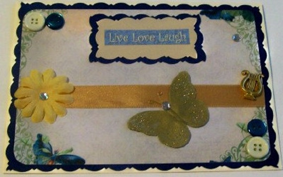 Navy, Gold Butterflies Blank Greeting Card - Butterfly, Flowers, Jewels, Live Love Laugh, Blue, Yellow, Beige, Gold, Glitter, All Occasion