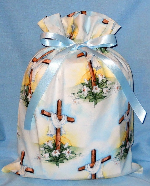 Easter Cross Medium Fabric Gift Bag - Religious, Spiritual, Ministry, Faith, Christian, Easter Lily, Blue, White, Yellow, Green, Brown