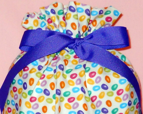 Jelly Beans Medium Fabric Gift Bag - Candy, Easter, Purple, Pink, Lime Green, Blue, Yellow, Orange, Teal, White, Simple