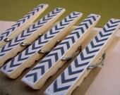 Chevron Clothespin Push Pins / Tacks - Set of 5.