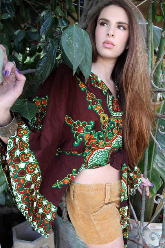 RESERVED  70s Vintage Cropped Tunic Chocolate Brown Indian Batik Vintage Clothes by TatiTatiVintage on Etsy