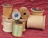 10 Wooden Thread Spools very Vintage