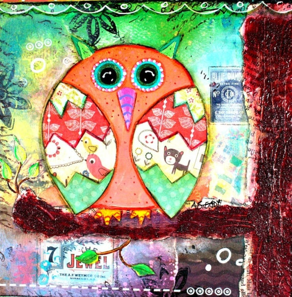 Original Artwork Canvas Painting of Shabby Chic Orange and Green Owl on Etsy (6x6 canvas)