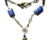 Sale Coventina. Lapis, Turquoise, and Bronze Filigree Necklace.