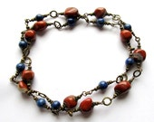 Calypso. Red Jasper and Lapis Necklace.