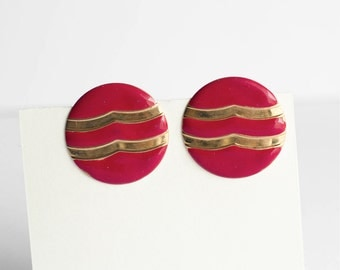Vintage Earrings Gold Red Round 1980s