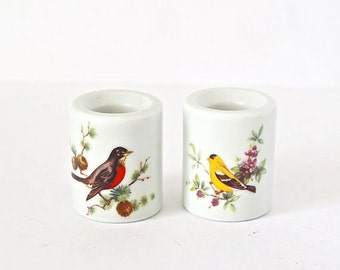 Ceramic Candle Holders Funny Design West Germany Tabletop Birds Cottage Chic Decor Candlestick Woodland Nature