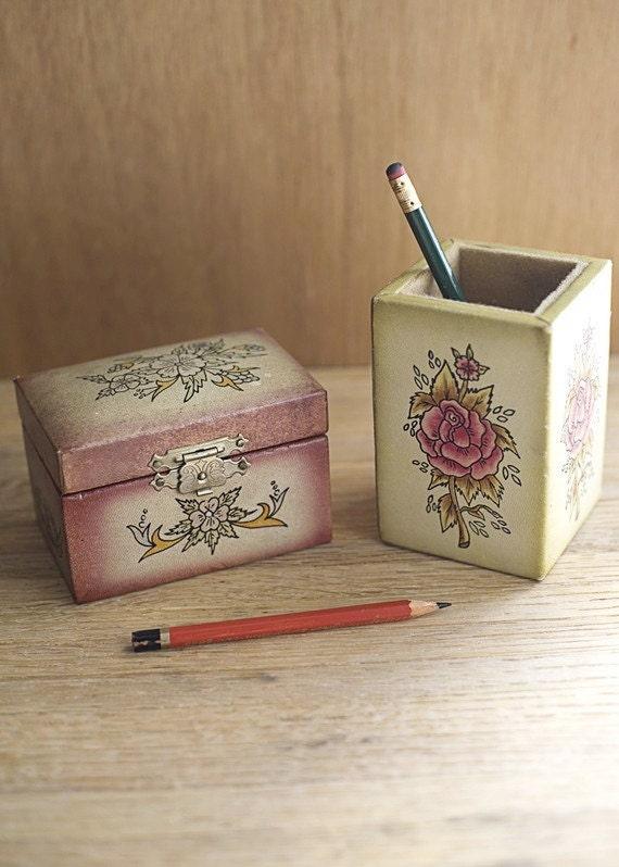 Vintage Desk Set Pencil Box Holder with Flower Design