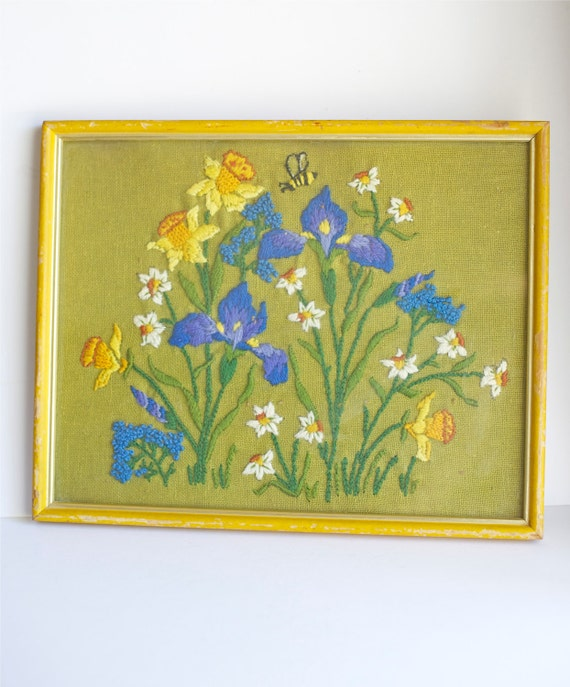 Embroidered Crewel Picture Framed Flowers Embroidery  Shabby Cottage Decor