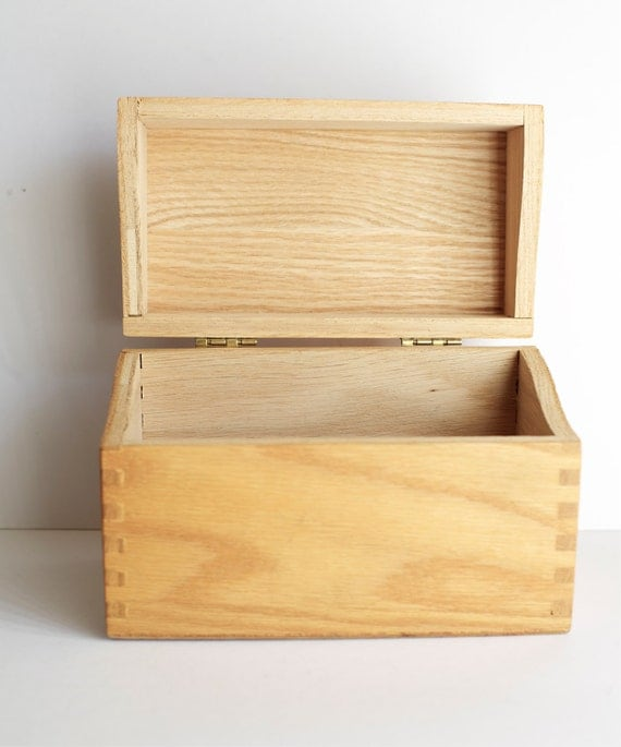 Wood Recipe Box Index Office Storage Hedberg Vintage