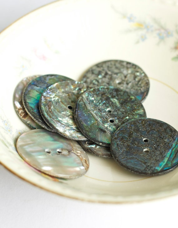 Vintage Abalone Buttons Shell Natural Large Mother of Pearl