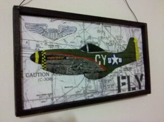 P51 Mustang FLY wall plaque Green and Silver