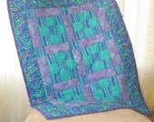 Purple Green 9-Patch Baby Quilt
