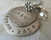 Personalized Rustic Sterling Silver Stacked Family Necklace with Swarovski Charms