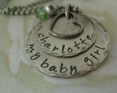 Rustic Sterling Silver Hand Stamped Personalized Mommy Necklace with Birthstone