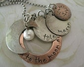 Rustic 'I love you to the moon and back' Personalized Hand Stamped Charm Necklace for Mommy