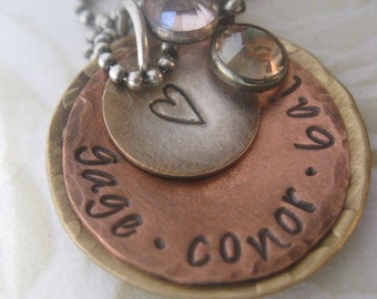 Personalized Rustic Mixed Metals Mommy Necklace