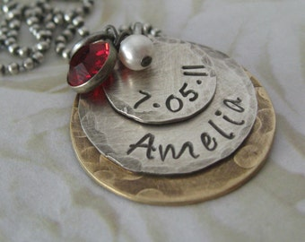 Mother's Day Birthstone Necklace -- Personalized Custom Handstamped Jewelry