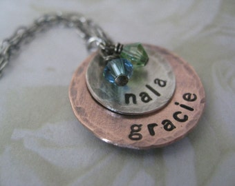 Sterling Silver and Copper Hand Stamped Mommy Necklace