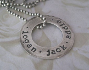 Sweet and Simple Sterling Silver Personalized Hand Stamped Washer