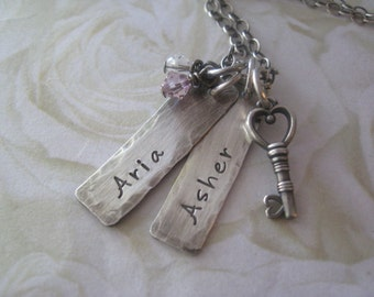 Hand Stamped Jewelry - Mothers Necklace - Name Tag Charms - Personalized Necklace