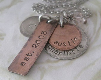 Sterling Silver and Copper Shabby Chic Style Hand Stamped Charm Necklace Personalized for Mom