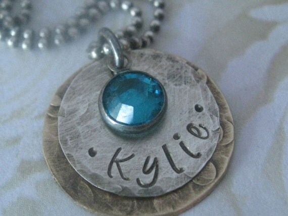 Personalized Rustic Hand Stamped Sterling Silver and Antiqued Brass Birthstone Necklace