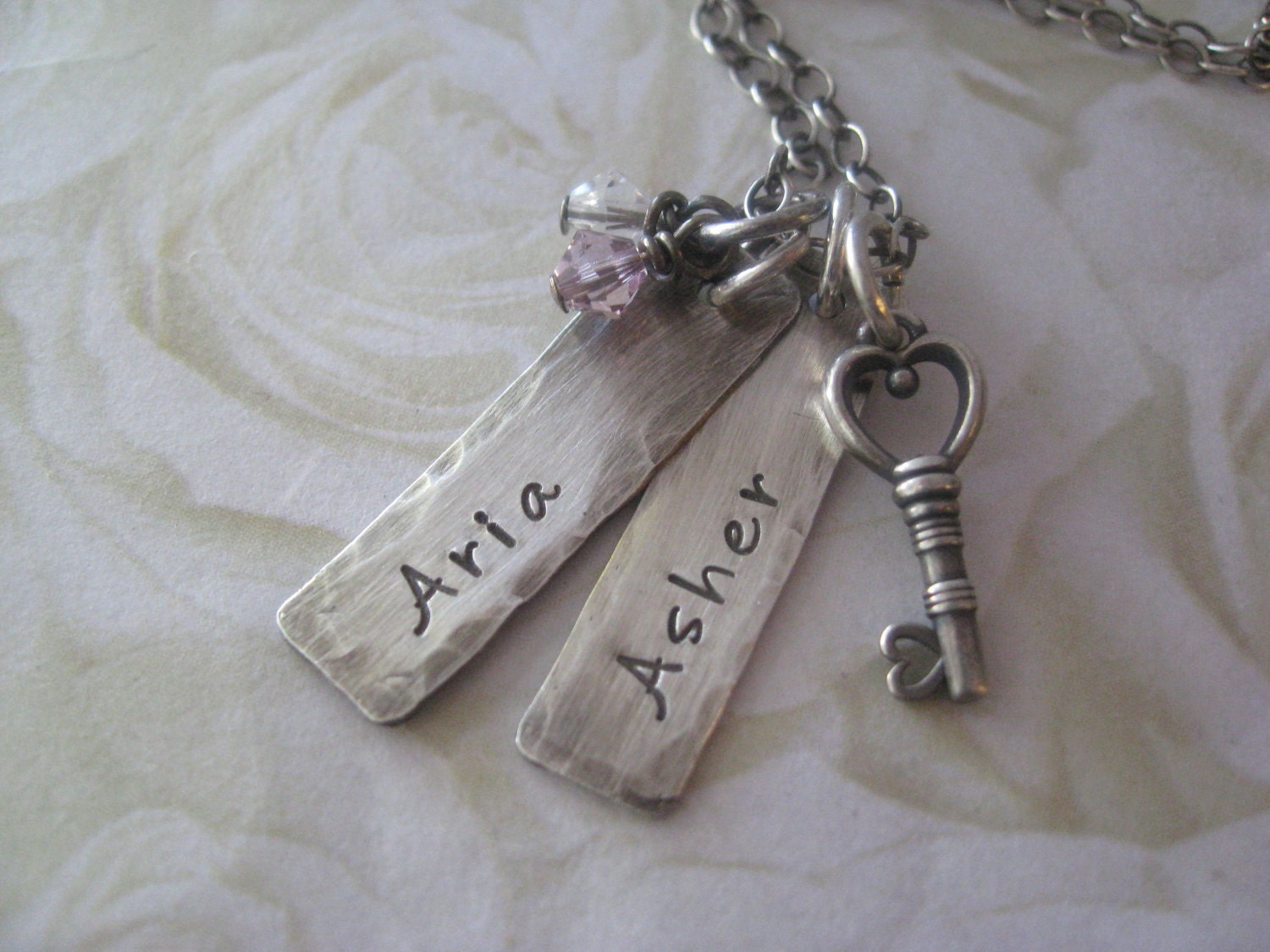 Hand Stamped Jewelry Mothers Necklace Name Tag Charms