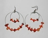Carnelian Silver Wire Circle Earrings with Orange Beads