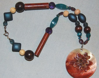 Chunky Bead Necklace With Large Floral Pendant