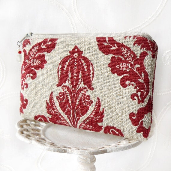 Small Zipper Pouch, Change Purse, Coin Pouch- Rustic Damask in Red and Linen