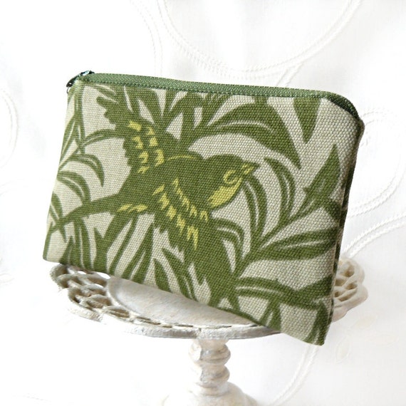 Small Zipper Pouch, Change Purse, Coin Pouch- Flocking Around in Green and Taupe