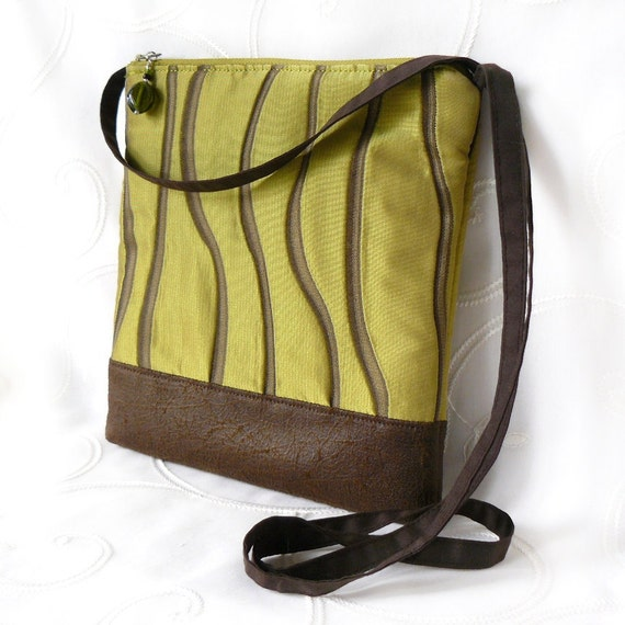 Cross Body Bag, Fabric Hip Bag, Pouch Purse - Wavy Stripes in Apple Green and Brown