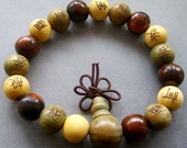 12mm Three Fortune Wood Tibetan Buddhist Prayer Stretchy Beads Wrist Mala Bracelet  T1828