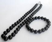 Black Onyx Agate Gemstone Round Beads Necklace And Stretchy Bracelet Charm T2633