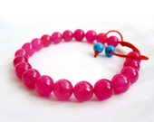 8mm 21Pieces Pink Jade Gemstone Beads Tibet Buddhist Wrist Mala Bracelet For Meditation(Adjustable String)  T2672