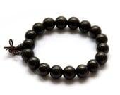 12mm Black Sandalwood Prayer Beads Tibet Buddhist Stretchy Japa Mala Bracelet   T2739