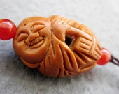 Olive-Pit Carved Tibet Buddhist Fortune Buddha Amulet Pendant  T2437