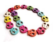 One Strand Imitate Multi-Color Turquoise Carved Flat Skull Head Beads--380mm In Length 22mm*20mm  ja488