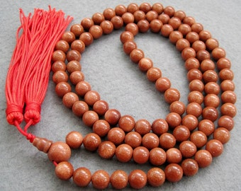 8mm 108 Goldstone Glidstone Gem Meditation Yoga Tibetan Buddhist Prayer Beads Mala Necklace  ZZ032